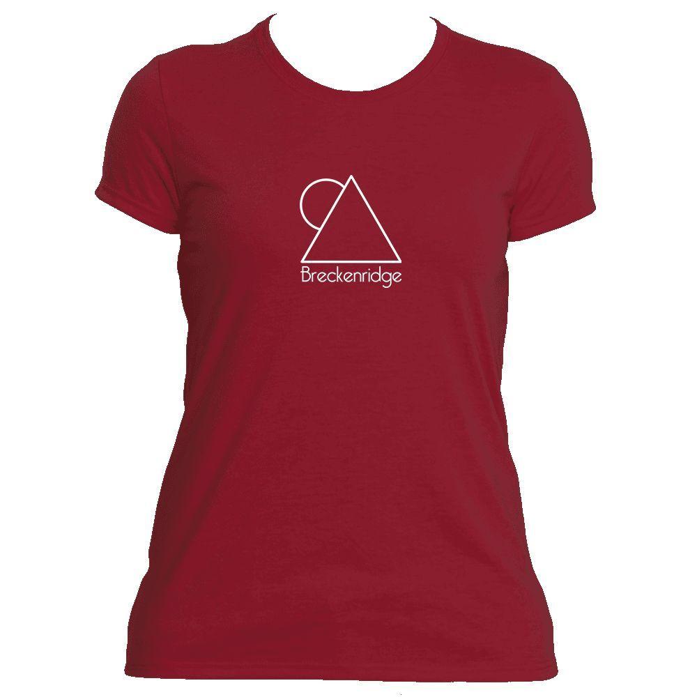 Breckenridge, Colorado Minimal Mountain Sun in White - Women's Moisture Wicking T-Shirt