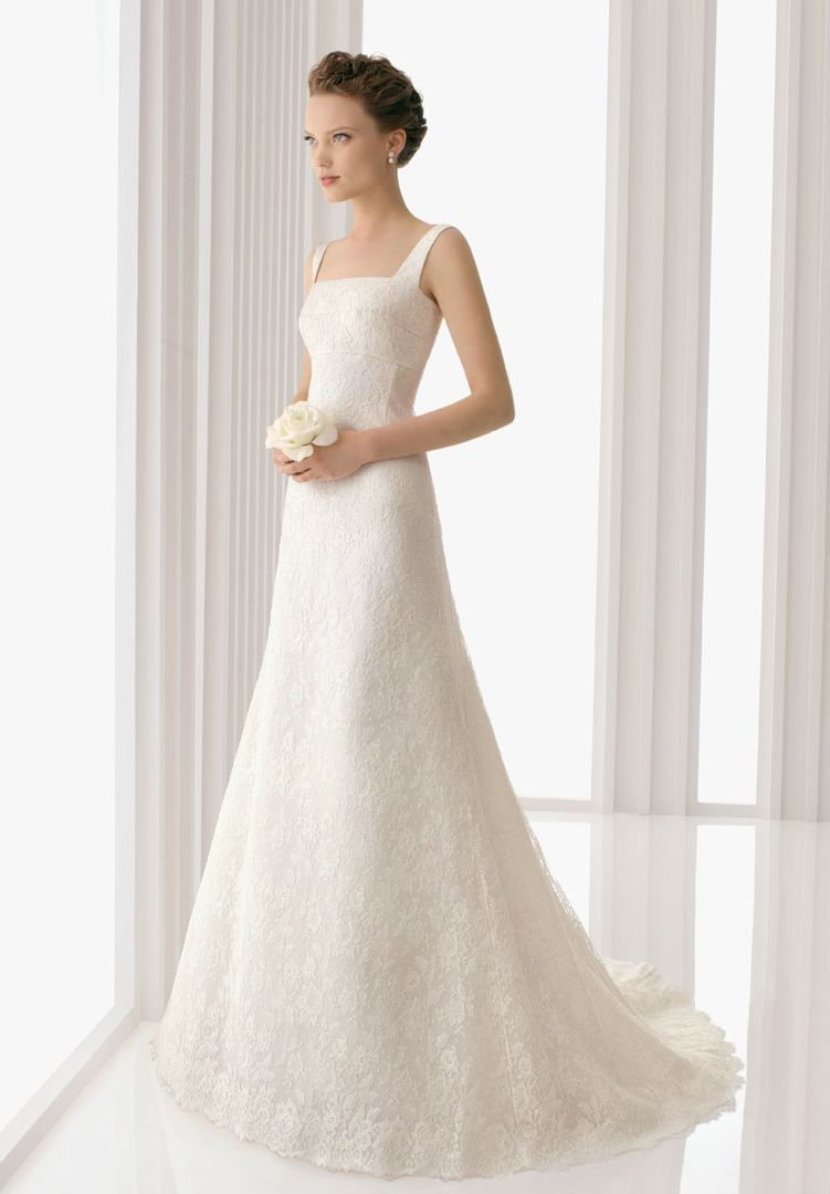 Beau Lace Square A Line Elegant Wedding Dress   Bride   WHITEAZALEA.com