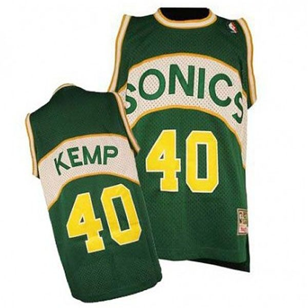 93edc8043 Seattle SuperSonics  40 Shawn Kemp Hardwood Classics Swingman Throwback  Green Jersey