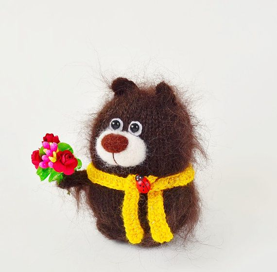 Miniatura marrón amarillo bufanda - Amigurumi animales mano punto ...
