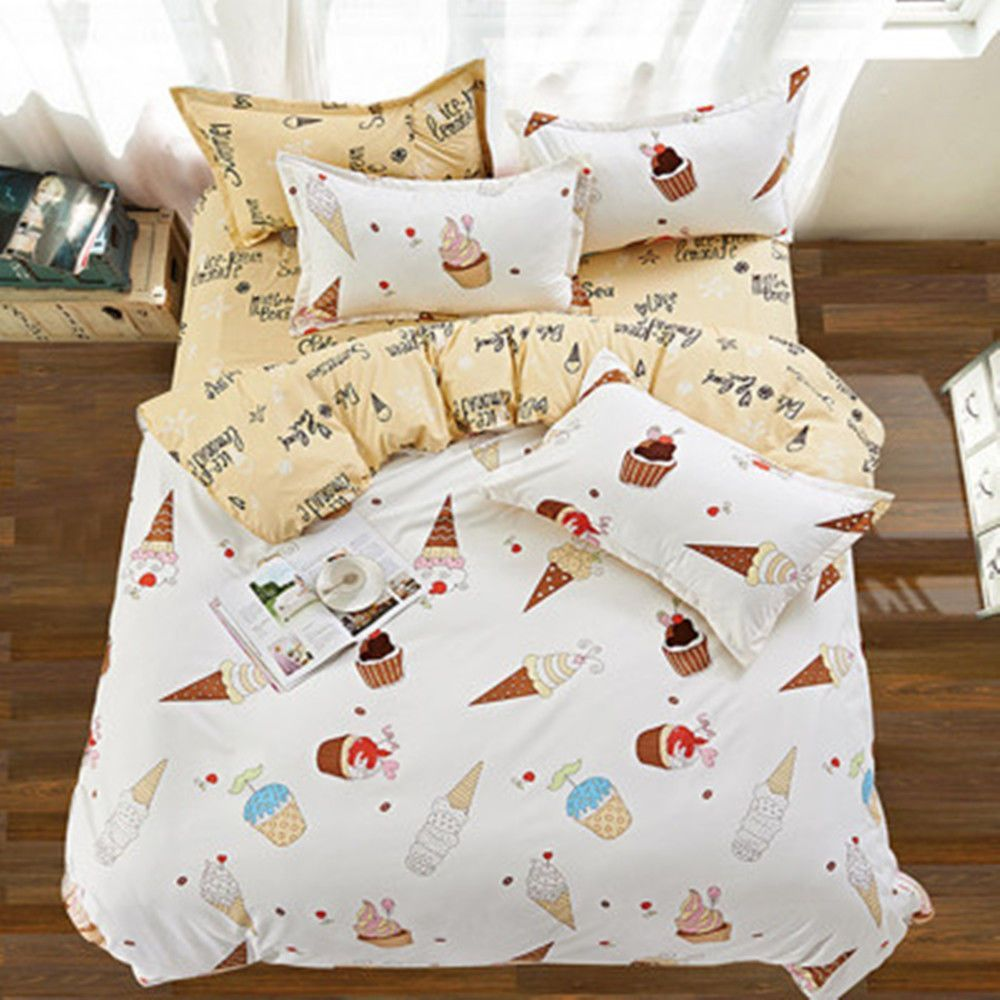 Plain Duvet Cover With Pillow Case Quilt Single Double Bedding Bed Sheet Set UK