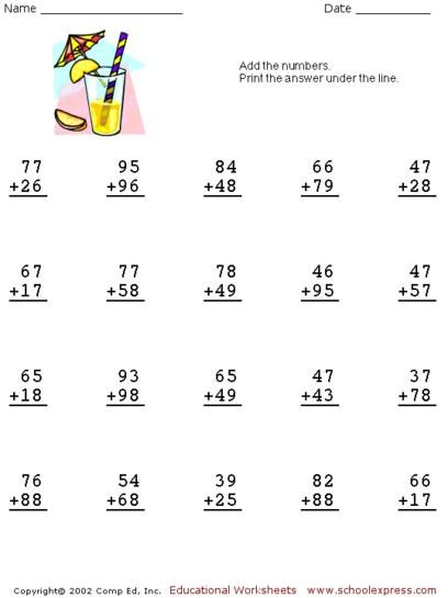Free Addition Worksheets, 2 Digits With Carrying | mat dic ...