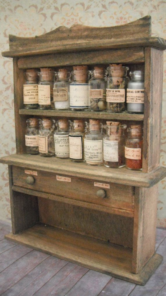 apothecary cabinet. Either BIG jars, or small Cabinet