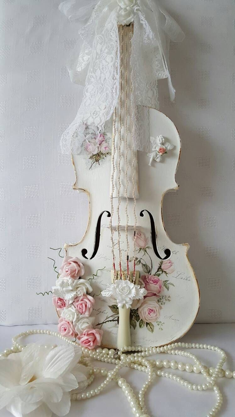 country couture shabby chic hand painted wooden violin. Black Bedroom Furniture Sets. Home Design Ideas