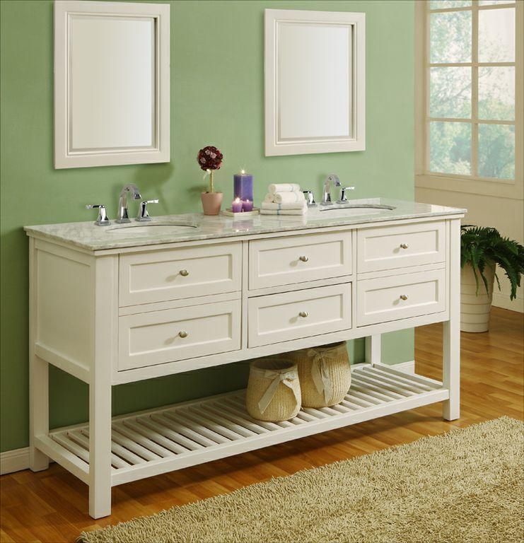 J & J International 70 inch Pearl White Antique Double Bathroom Vanity Set