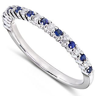 Diamond-Me- -Diamond and Blue Sapphire Band 1/4 carat (ct.tw) in 14k White Gold