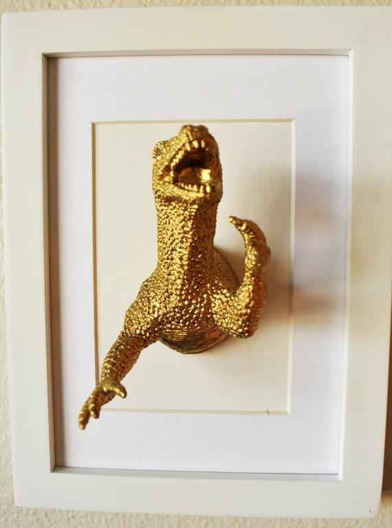 Dinosaur Artwork/ 5x7/ 3D art/ Gold Plastic dinosaur and White frame ...