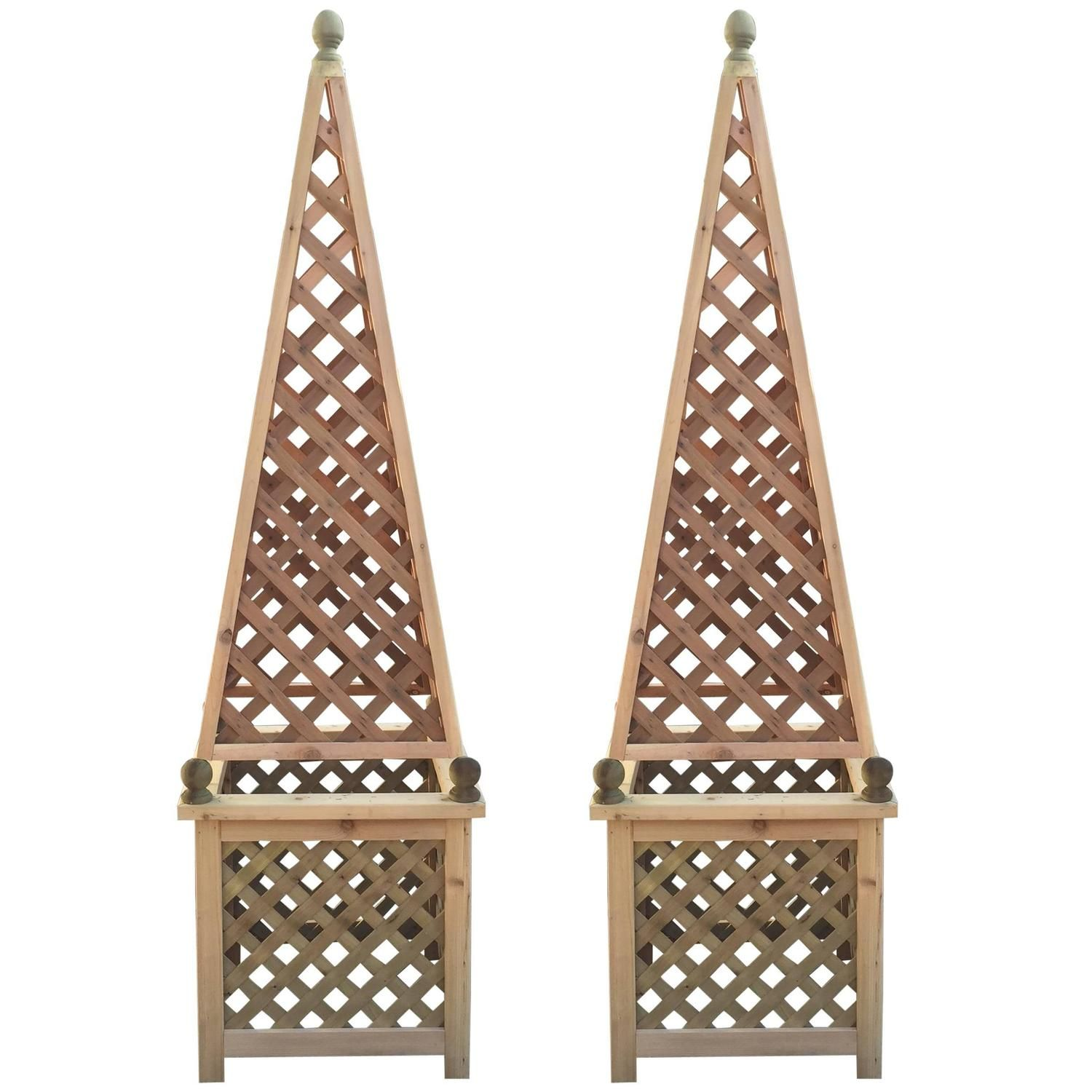 Gentil Pair Of Monumental Decorative Cedar Garden Obelisks | From A Unique  Collection Of Antique And Modern