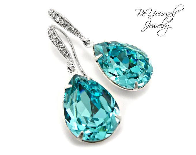 Aquamarine Crystal Earrings Swarovski Aqua Blue Bridal