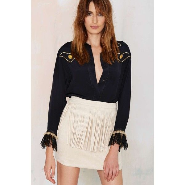 Joa Ranger Danger Fringe Skirt (1,310 MXN) ❤ liked on Polyvore featuring skirts, mini skirts, beige, fringe skirt, beige skirt, vintage mini skirt, beige mini skirt e vintage skirts