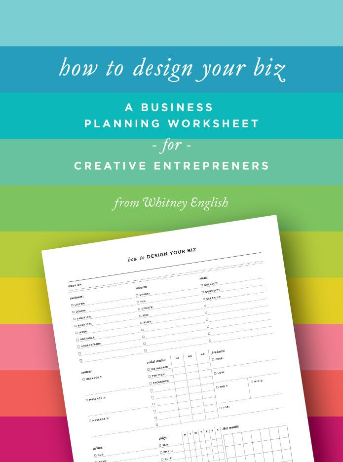How To Design Your Biz A Business Planning Worksheet for Creative