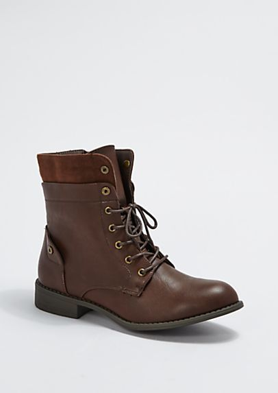 image of Brown Layered Combat Boot By Wild Diva®