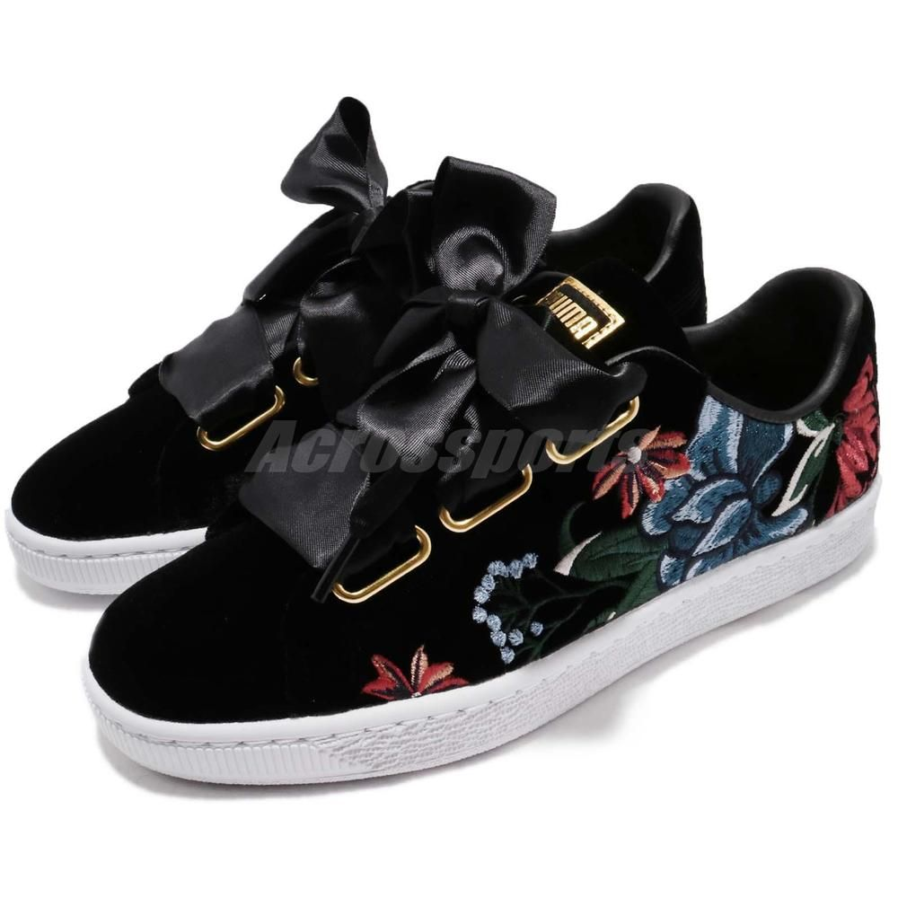 detailed look cd50f e5bd6 Puma Basket Heart Hyper Emb Wns Embroidery Flower Black Gold ...