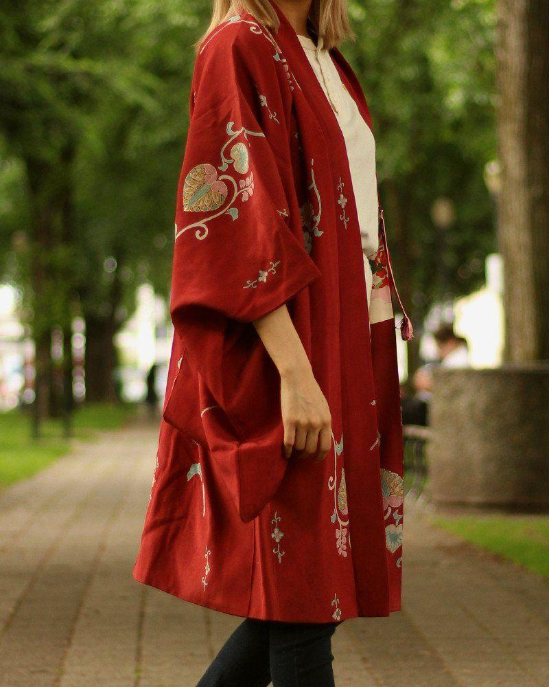 Vintage Kimono Haori Jacket, Burgundy Vintage kimono
