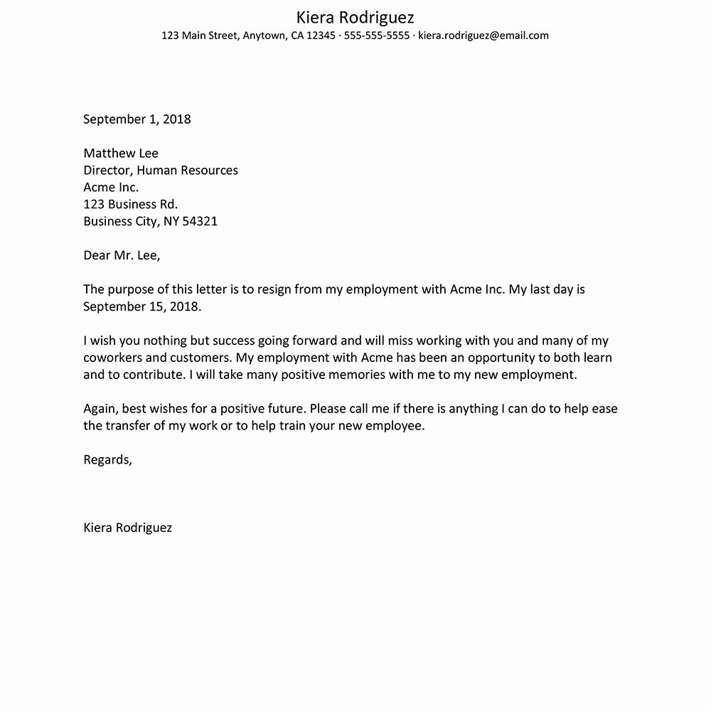 24 Two Week Resignation Letter Template in 2020