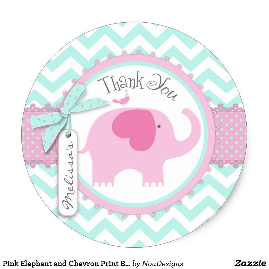 Personalizado Bautizo del Elefante Rosa Redonda Pegatinas Etiquetas Fiesta Cono Hoja