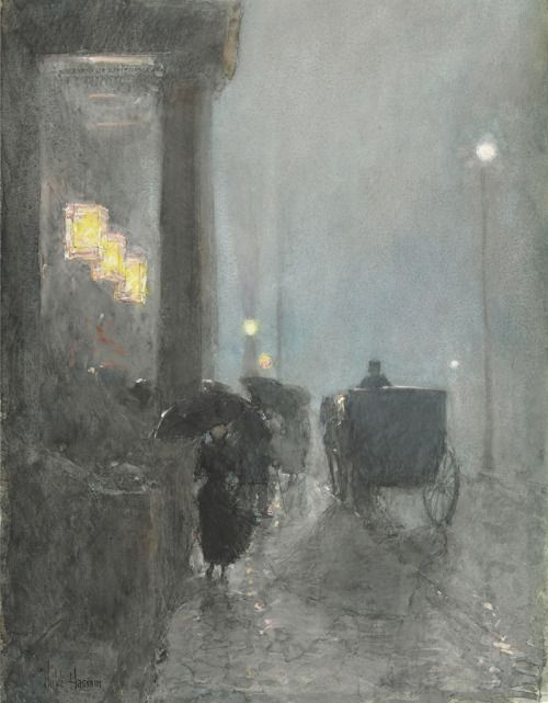 thunderstruck9:  Childe Hassam (American, 1859-1935), Fifth Avenue, Evening, c.1890-93. Watercolor, gouache and pastel on paper, 55.2 x 39.3 cm.