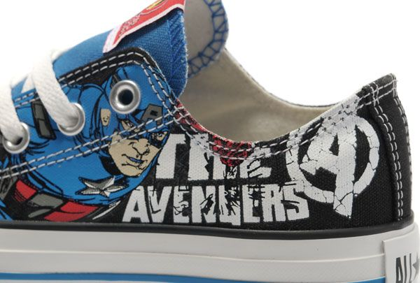 dffb4dc9fdda Converse The Avengers Edition Captain America Printed Blue Black Low  Tops... intense need and desire for these!!