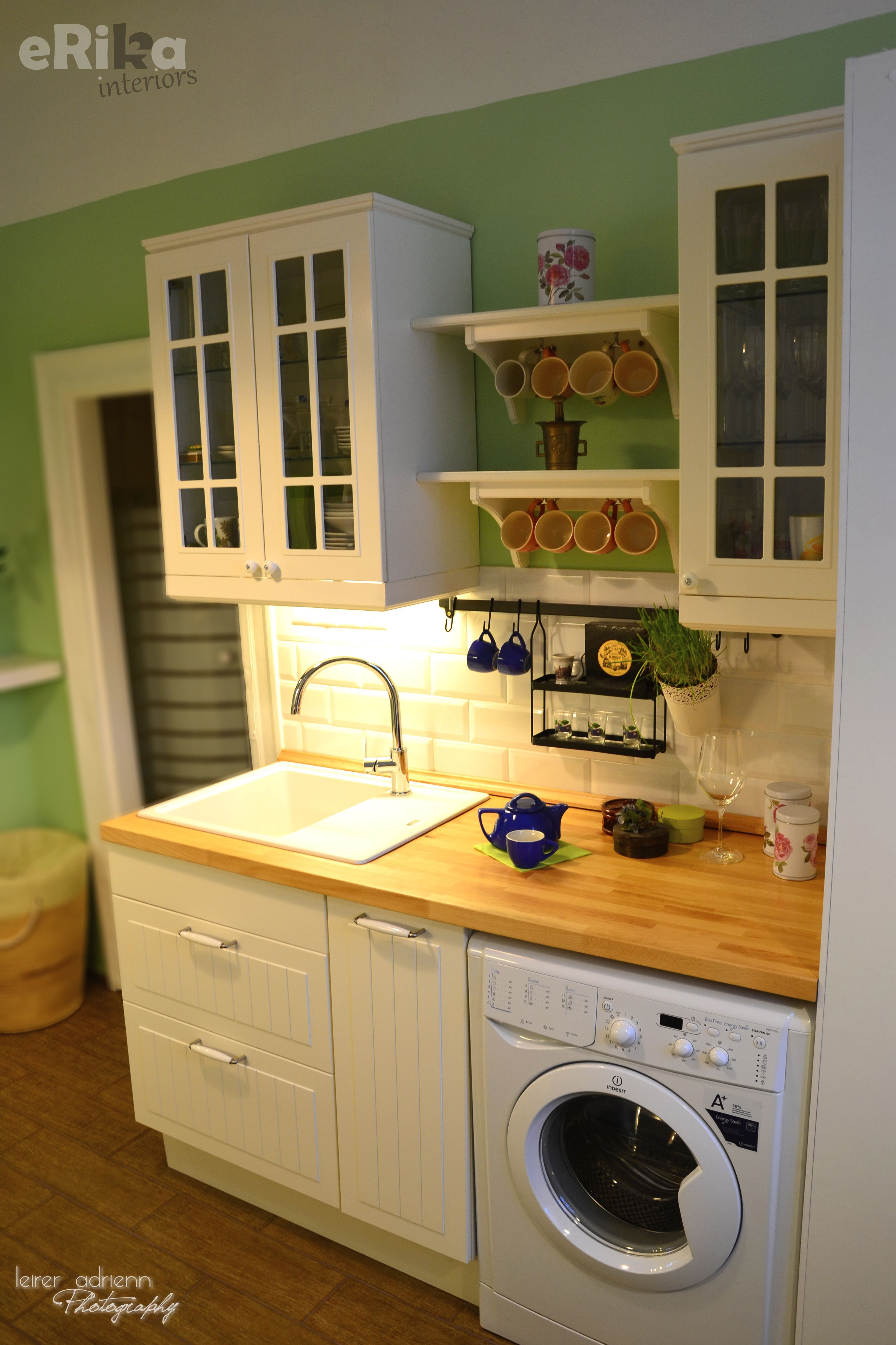 white / country / small kitchen country decor, green walls, white ...