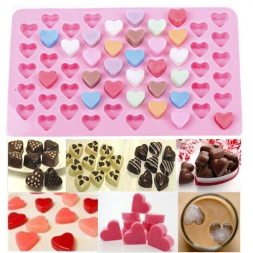 Mini 55 Heart Cake Chocolate Cookie Baking Mould Silicone Jelly Baking Tray