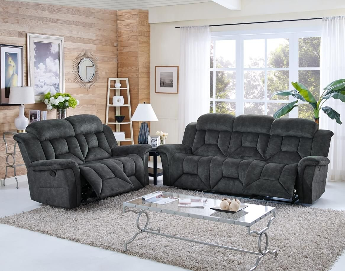 Collins Charcoal Double Reclining Sofa And Loveseat 100