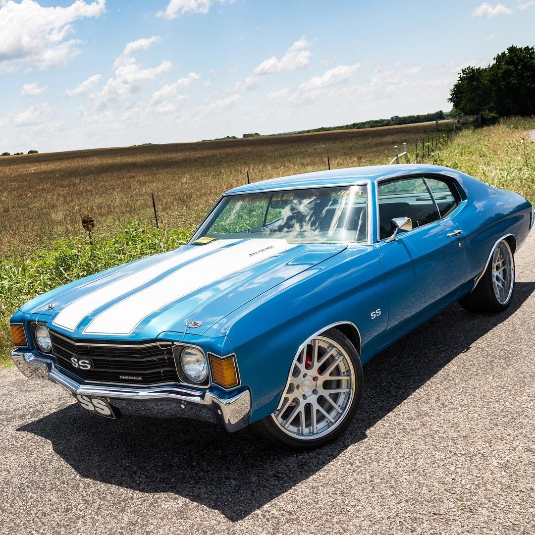 72 Chevelle #BecauseSS Blue White With Concave Mesh Wheels