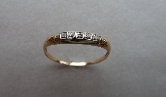 Vintage 1940's Delicate Diamond Band 14K by BellflowerBay on Etsy, $205.00