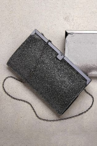 62918334fa9 Diamonds are definitely forever with this gunmetal grey diamante clutch bag.  Up your Friday night