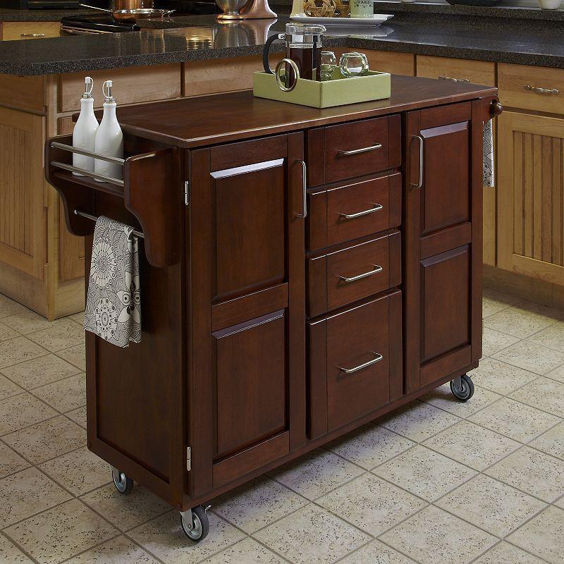 Cherry Kitchen Cart Thai Organic Coconut Milk Oak Top Four Drawer Products Portable B