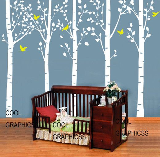 Five Large Birch Tree Inches Tall Vinyl Wall Decal Sticker - Vinyl wall decals birch tree