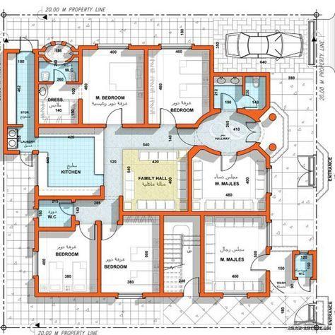 تصميم جميل طابق واحد 4 غرف نوم 1 ماستر مجلس رجال مجلس