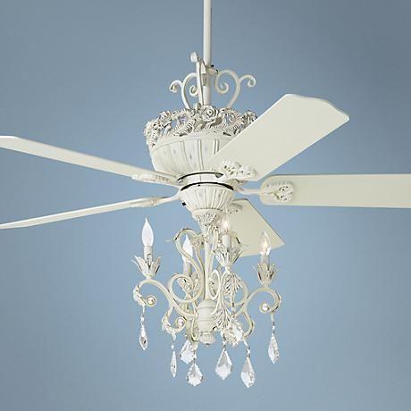 52 Casa Chic Rubbed White Chandelier Ceiling Fan