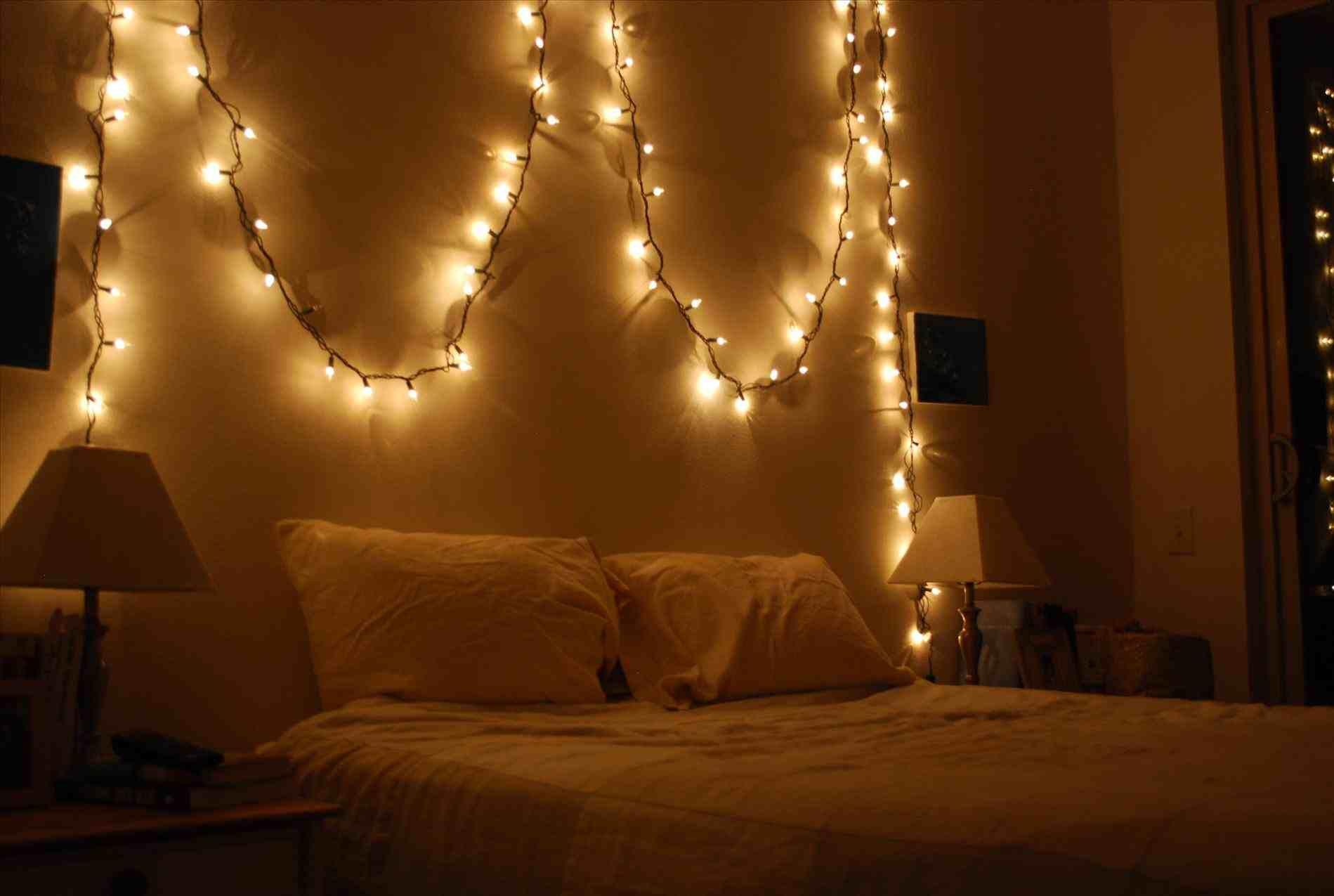 white christmas lights bedroom