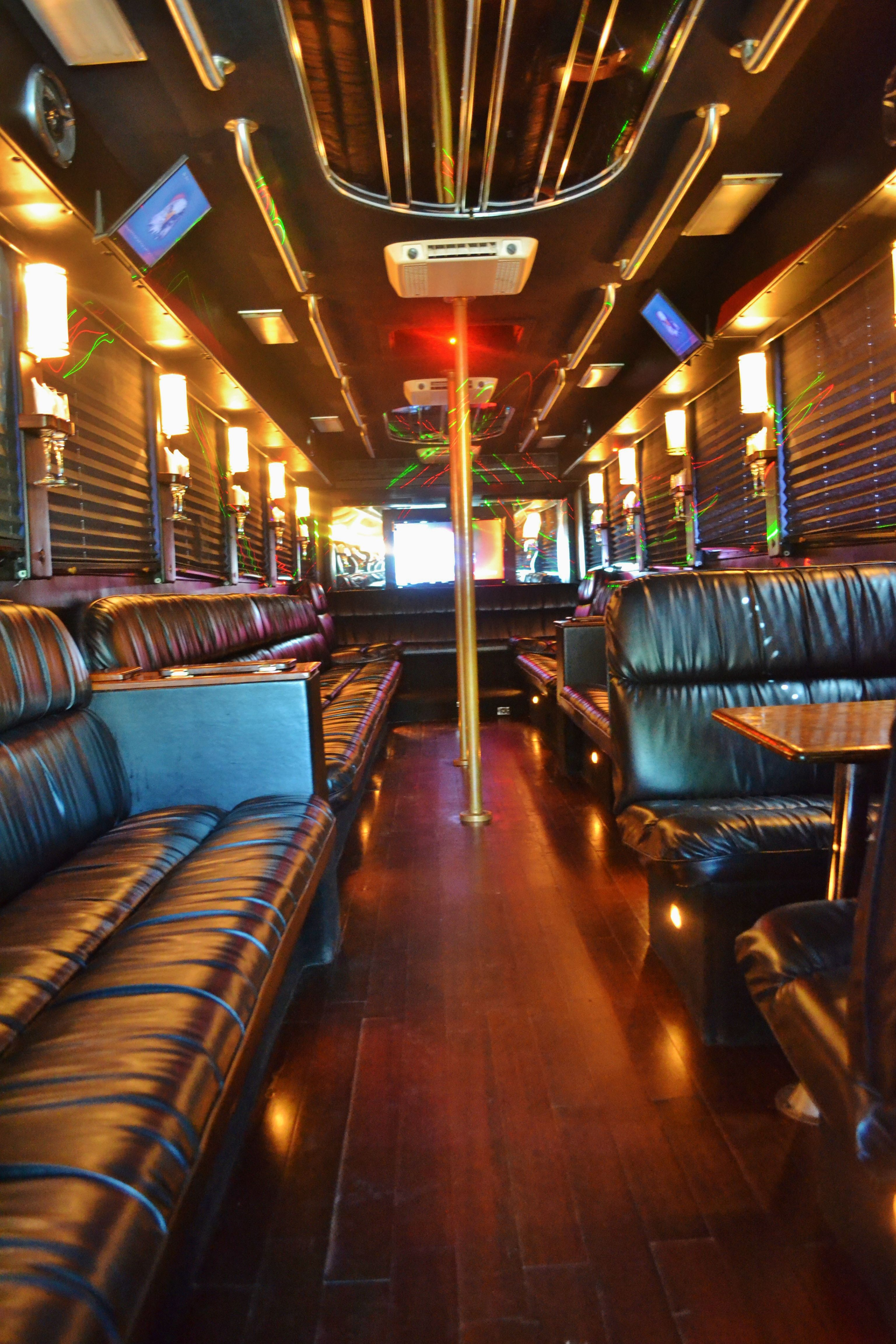 40 passenger party bus rentals interior info