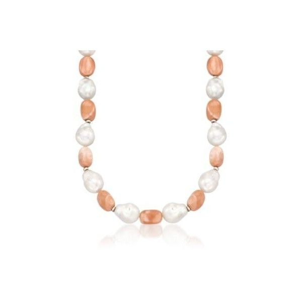 Peach Moonstone, Baroque Cultured Pearl Necklace, 14kt Yellow Gold ($161) ❤ liked on Polyvore featuring jewelry, necklaces, yellow gold, freshwater cultured pearl necklace, peach necklace, peach jewelry, gold necklaces and cultured pearl necklace