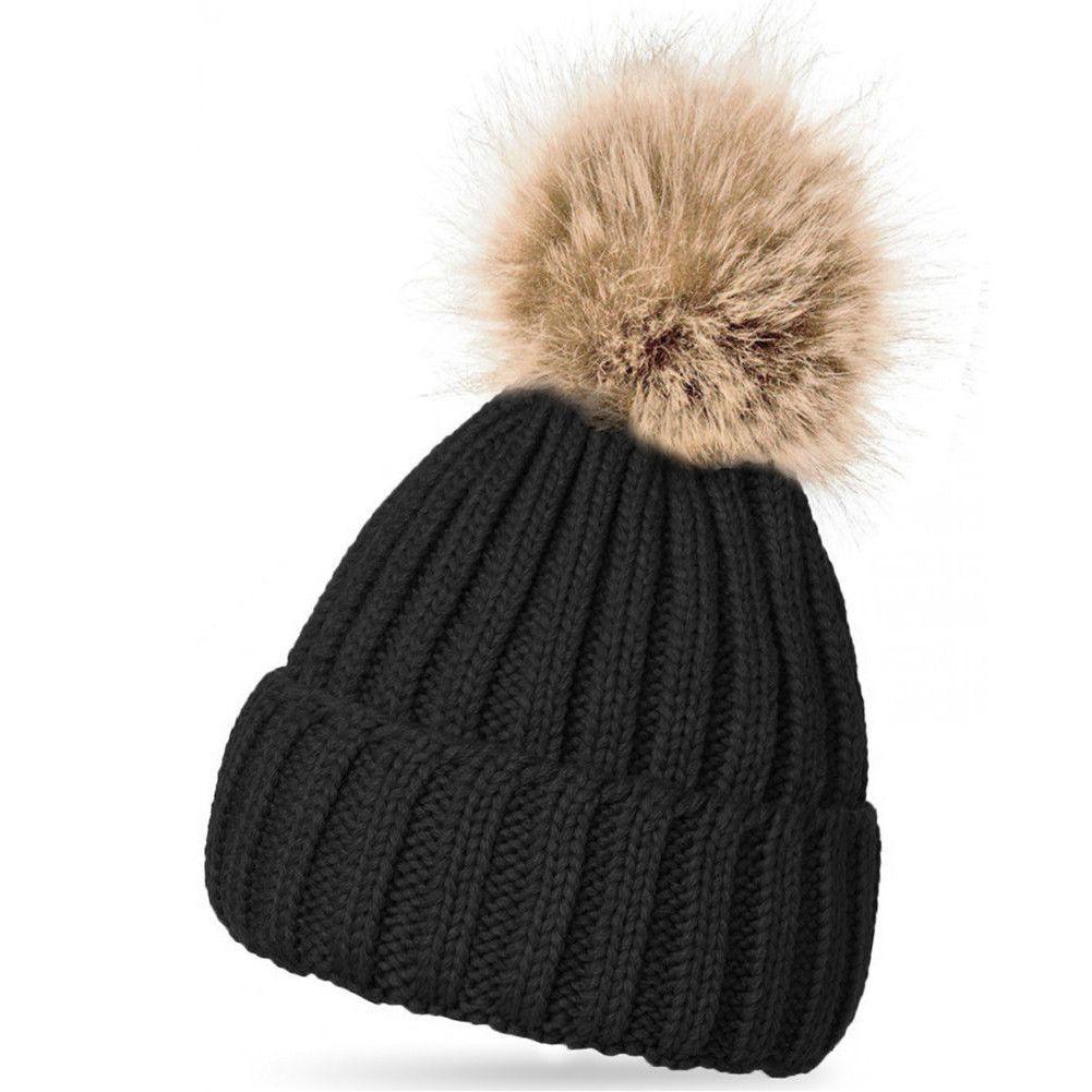 36707f6926f Fashion Women Faux Raccoon Fur Ball Winter Hat Cap For Woman Cap Warm Fur  Pom Poms Bobble Ski Hat Pompoms Skullies Beanies W1
