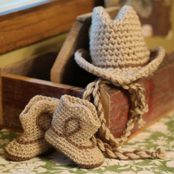 Newborn Baby cowboy hat and boots with lasso set by tinab76, $34.00