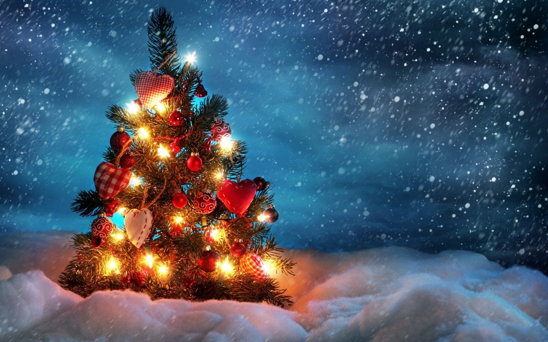 christmas tree light in snow hd wallpaper, led christmas lights