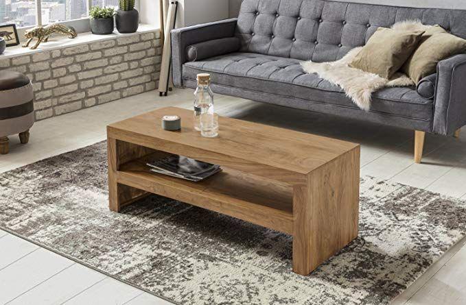 WOHNLING Couchtisch Massiv-Holz Akazie 110 cm breit Wohnzimmer-Tisch