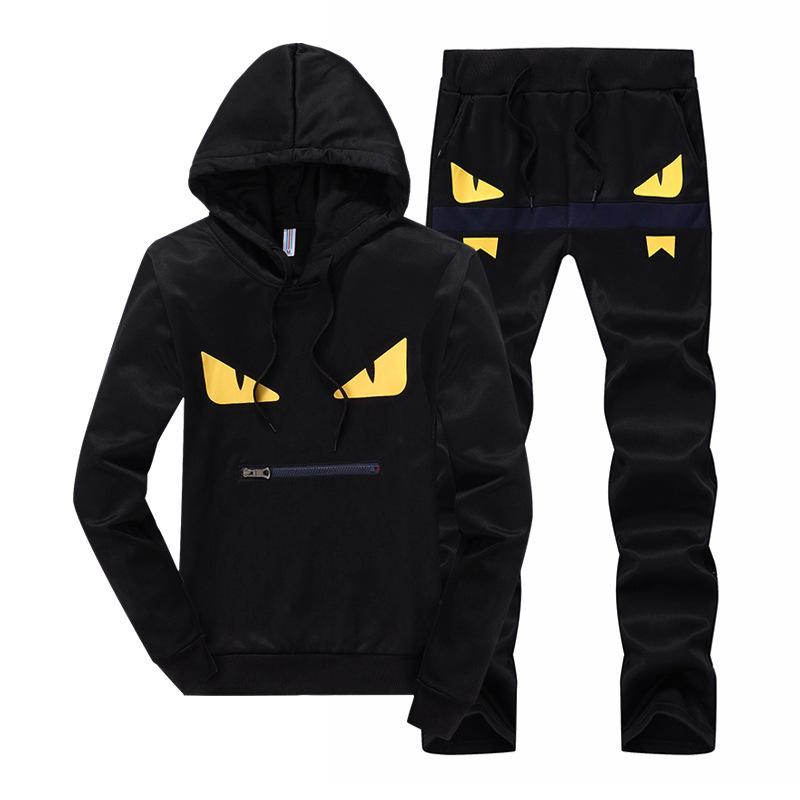 Men Fashion Printed Hooded Casual Sportwear Set Sport And Fitness