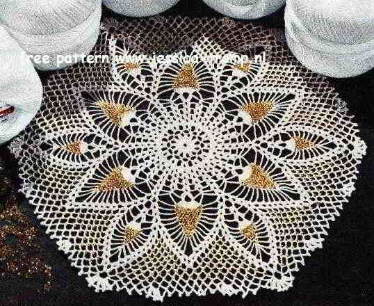 Pineapple With Beads Doily Free Vintage Crochet Doilies Patterns