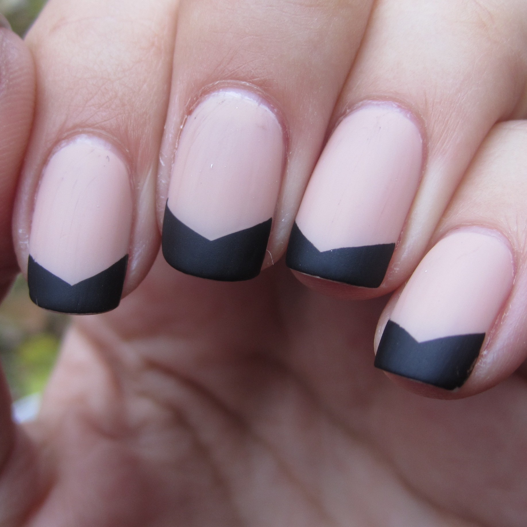 matte chevron french tips. but white or pale blush pink. | nails
