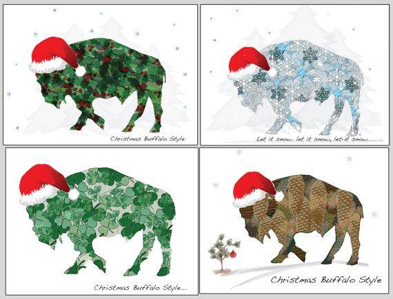 Buffalo Holiday Cards Blank Christmas Note by SilentMyloStudio