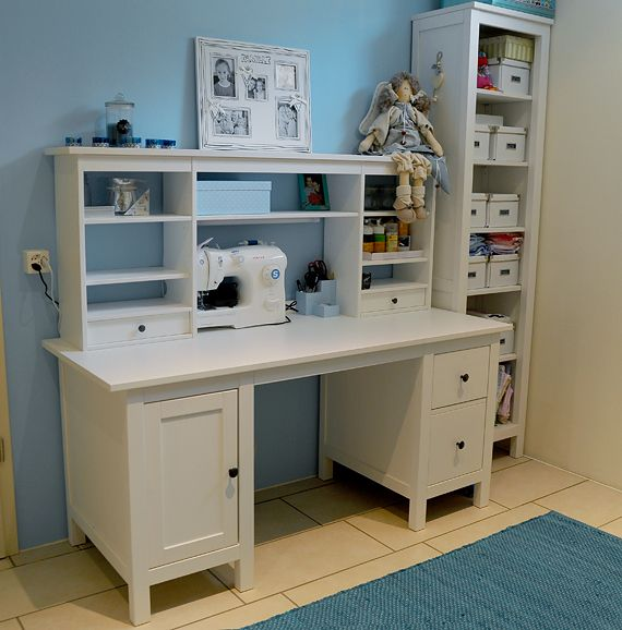 Hemnes desk with add on without panel behind it plus for Desk hutch organizer ikea