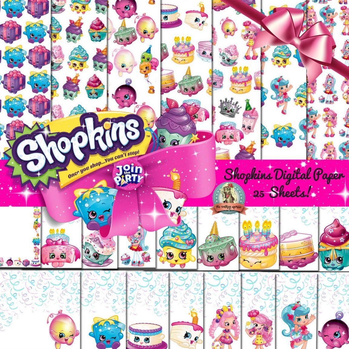 Scrapbook paper etsy - Shopkins Digital Paper Pack 25 Sheets 12 X12 Printable Paper Digital Scrapbook