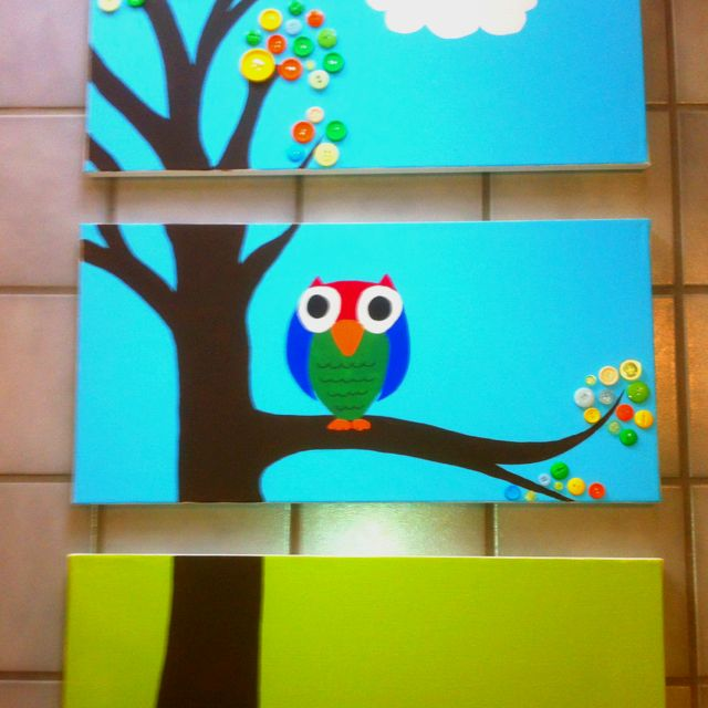 Owl painting for Beth's baby room!