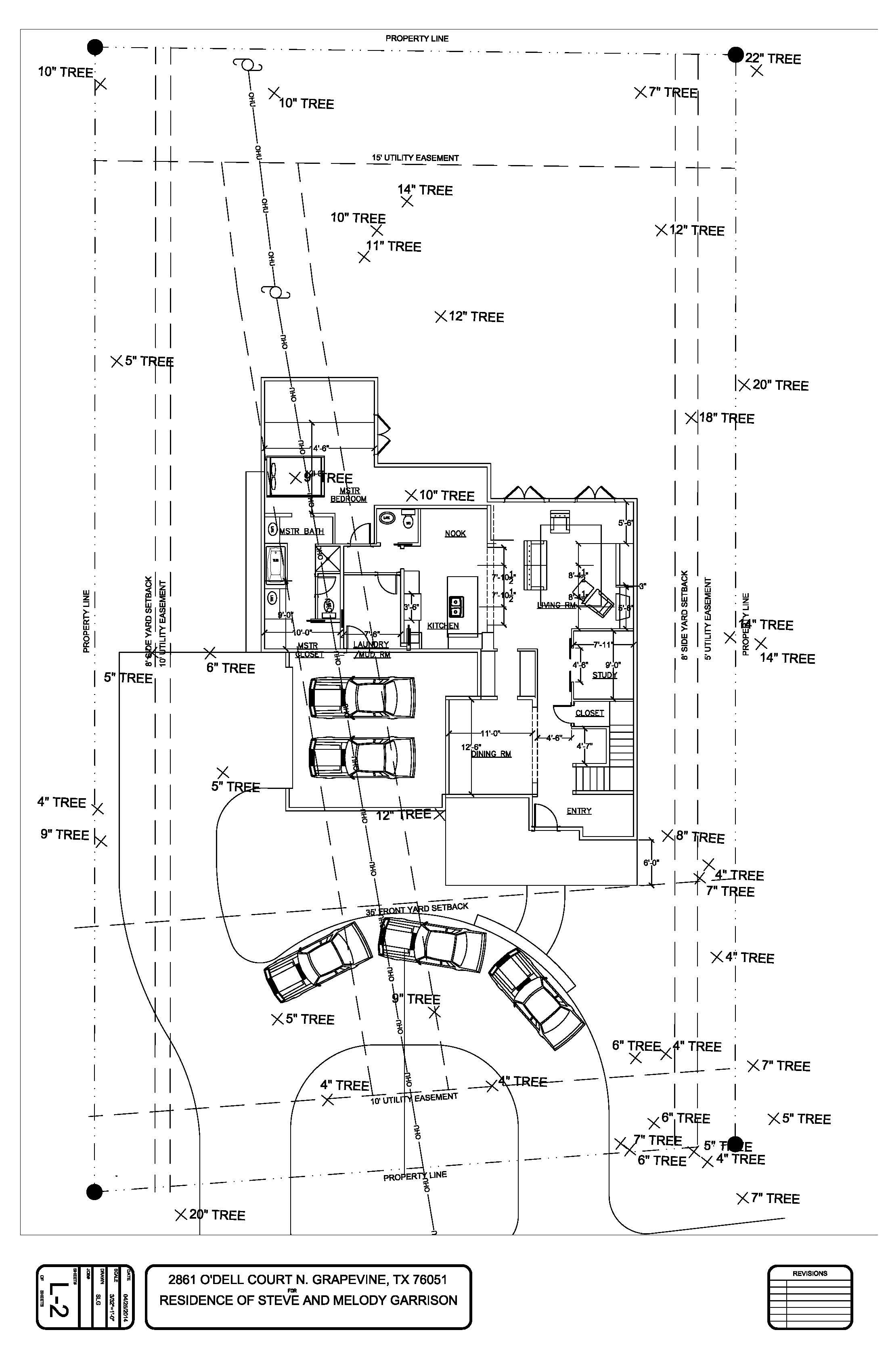 Drawing With Half Circle Driveway And Side Entry Driveway