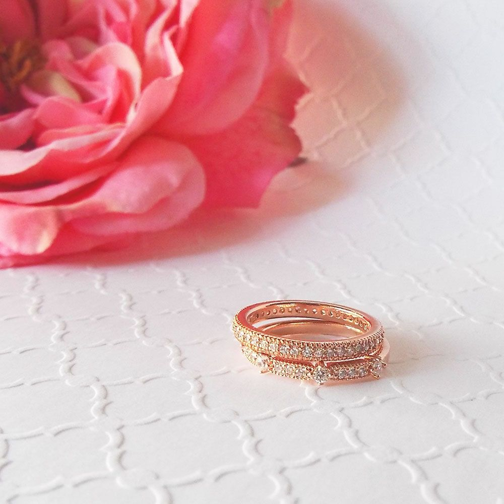 2 Ring Set Milgrain full & half eternity band rose gold plated ring ...