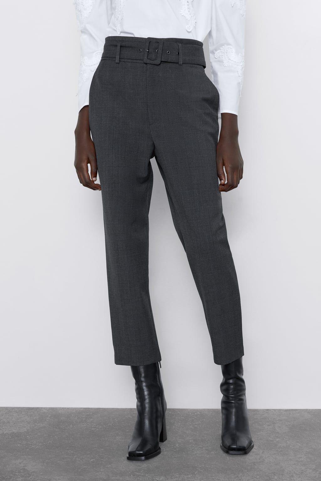 Calcas Xadrez Com Cinto Ver Tudo Calcas Mulher Zara Portugal