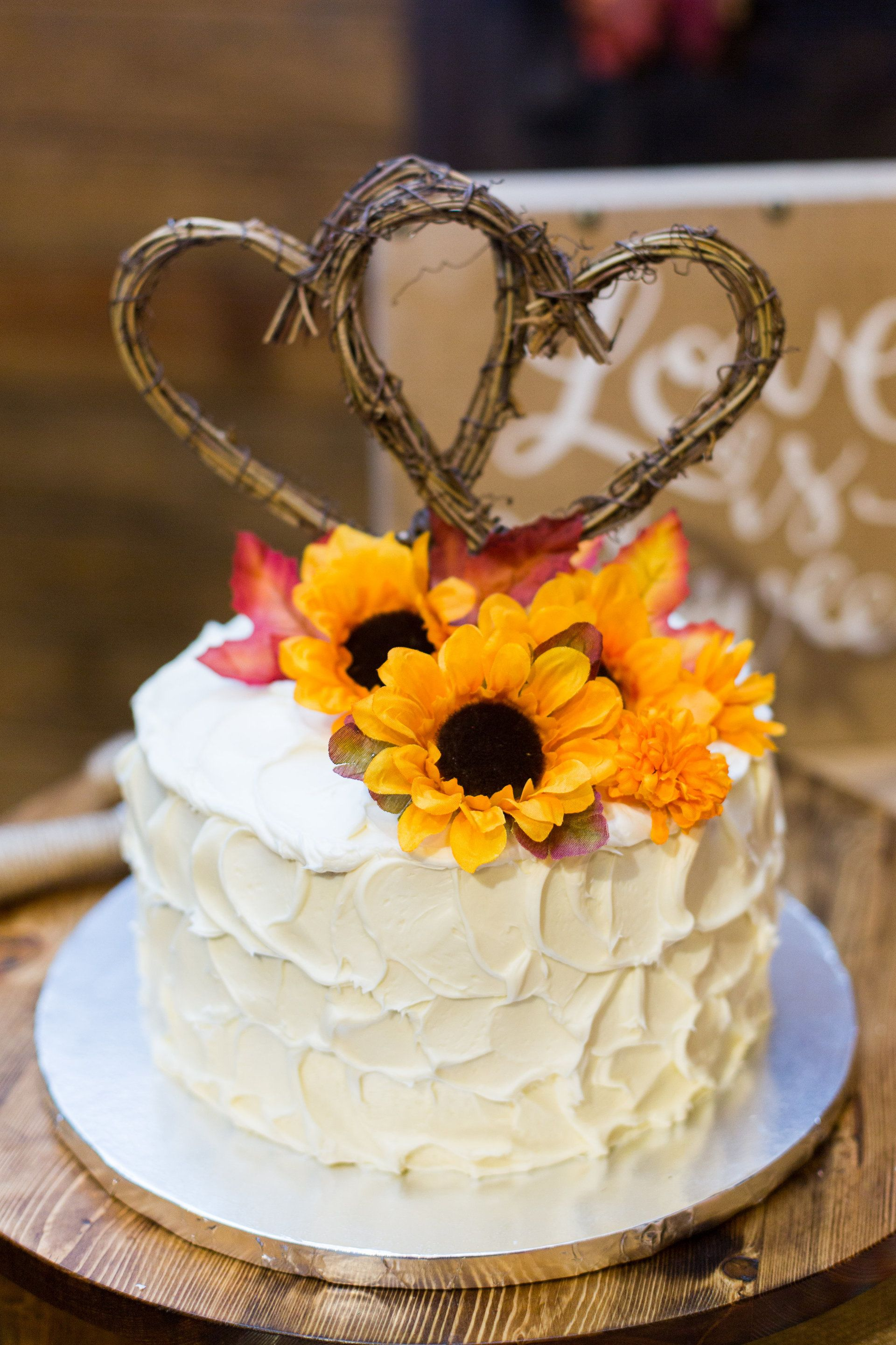 Small rustic wedding cake, hearts cake topper, thick